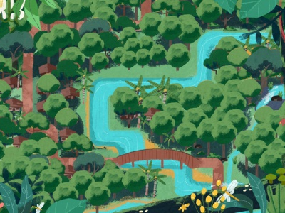 Forestry asia river forestry chalk community forest vector angkritth illustration