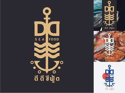 DD SEAFOOD archor sea fisherman seafood logodesign logo