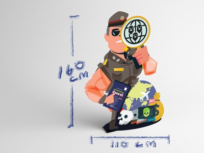 Mockup Police standy rollup transnational crime standy crime police character charcter design