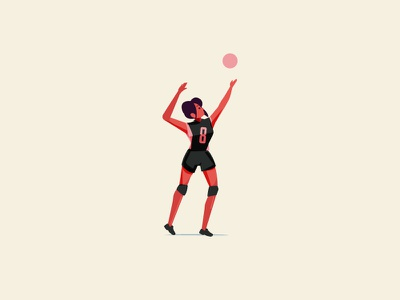 volleyball girl sport volleyball angkritth character design logo illustration