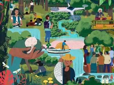 Illustration for Advances in Community Forestry in Asia asian asia angkritth forestry forest digitalpaint painting illustration