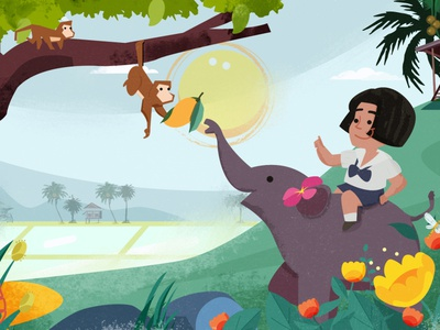 Asian Classic story student animal character angkritth wild tree medow forest countryyard kid elephant thailand illustration