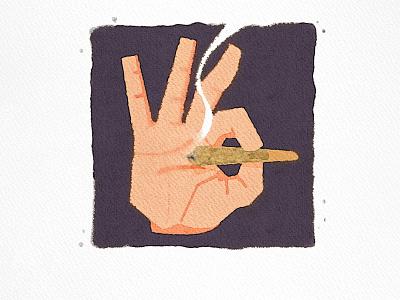 OK angkritth marijuana weed hand illustration ok okay