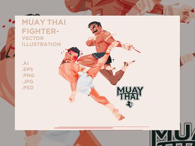 Muay Thai Fight - Brutal Knee knockout angkritth vector boxwe boxing knee brutal knockout creativemartket illustration thailand thai muay