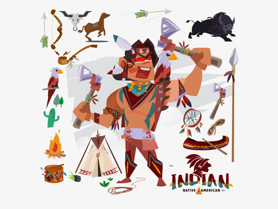 Native American! logo angkritth illustration character indian