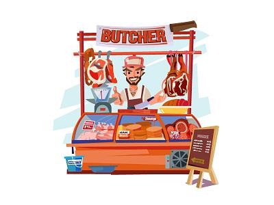 Butcher's Chop! angkritth cart illustration knife character pork beef steak meat butcher