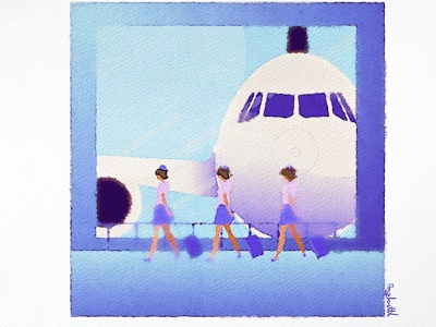 Going fly angkritth painting drawing illustration watercolour airport airhostess cabin crew