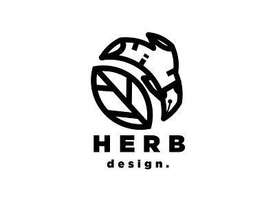HERB DESIGN leaf pen logodesign organic herbal herb logo