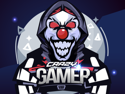 Crazy gamer joker hacker esport gamer typography icon vector character design angkritth character logo illustration