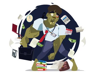 Work hard! vector character character design businessman overtime work hard zombie