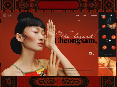 Cheongsam dress fashion wed design website web ux ui illustration design