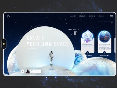 7. Space space art galaxy traveller astronaut universe space wed design web ui ux illustration design