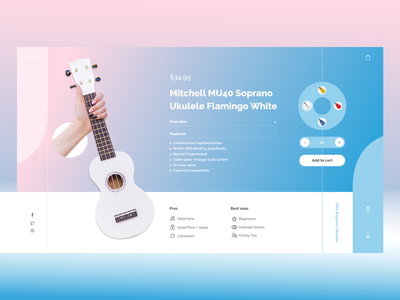 Ukulele music blue pink instrument website illustration wed design ux ui design