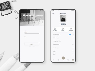 Furniture Login sign in furniture app mobile white black website illustration wed design ux ui design