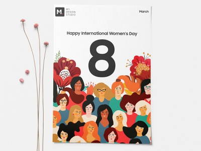 Happy Women S Day girls flower day women wed design illustration ui ux design
