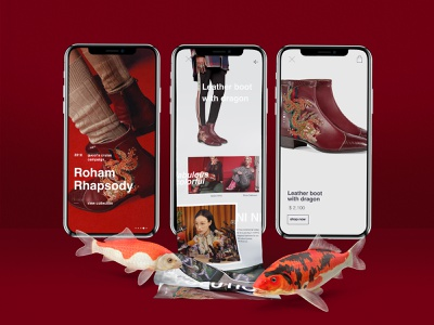 Roham Rhapsody leather shoes mobile app red fashion website web illustration wed design ui ux design