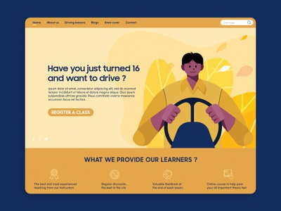 Driving Car landing page homepage yellow driving car webdeisgn website illustration ui ux design