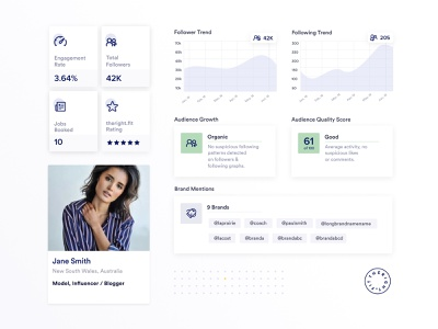 Influencer Analytics Components data visualization ui design