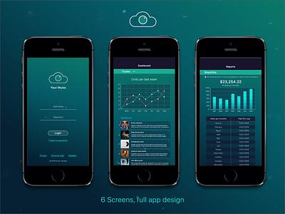 Music Industry Professional App graphs charts album earnings revenue statistics cloud stats professional music app design ios clean ux ui mobile illustration app design