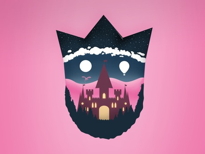 Castle in the Clouds cartoon stars night drawing balloon fairytale castles pink doublestruck designs double exposure double meaning double clipart overlay king castle vector logo illustration design