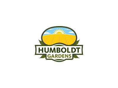 Humboldt Gardens agriculture field sun business gardens family design leafs plant plants farmer farming green garden farm branding logo