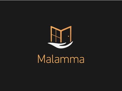 Malamma estate real housing icon mark branding holding clean logotype simple design logo rent care home residential