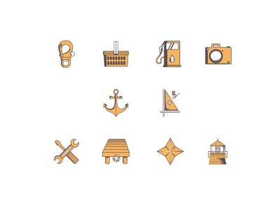 Map icon set harbor sail set tracker gps maintenance repair lighthouse sea anchor shopping gas navigation map icon vector app logo illustration design