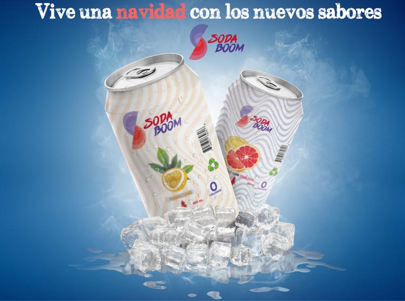 Publicidad de Soda Boom mockup red blue typography branding vector design logo illustration colors color