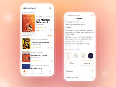 E-Book • Mobile App Concept interface design experience design ux usability education ebook reading app app design mobile app design book ui