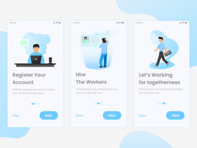 Simple Onboarding Job App job application mobile mobile ui ui illustration dribbble app design