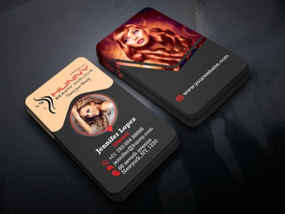 Beauty Parlour Business Card eps ai color cut hair golden black card women girl skin mackup spa saloon parlour beauty