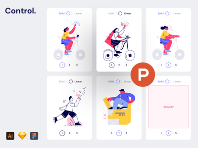 Control Illustrations on ProductHunt! workflow svg ai png lifestyle character linear solid style stylish generator colorful bright modern craftwork illustrations ph producthunt