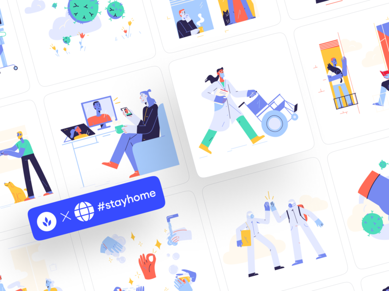 Pandemic is here now! png svg security mask yoga care workflow colorful homely covid19 quarantine stayhome coronavirus virus medicine landing app web illustrations