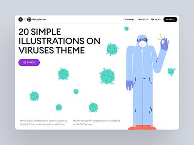 Pandemic Illustrations pandemic landing illustration branding design walkthrough ai app svg craftwork vector web