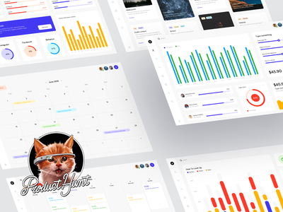 Meet Free Dashboards UI Kit colorful bright vector icons widgets charts data statistic business ux ui templates desktop dashboard opensource freebie free