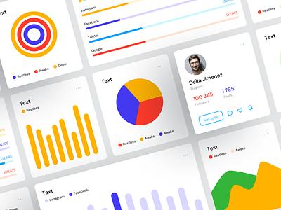 Dasboards UI Kit Freebie colorful bright vector icons widgets charts data statistic business ux ui templates desktop dashboard opensource freebie free