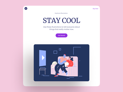 Meet Stayhome Illustrations pink page landing presentation project scenes home atmosphere love care app website gentle vector flat lifestyle