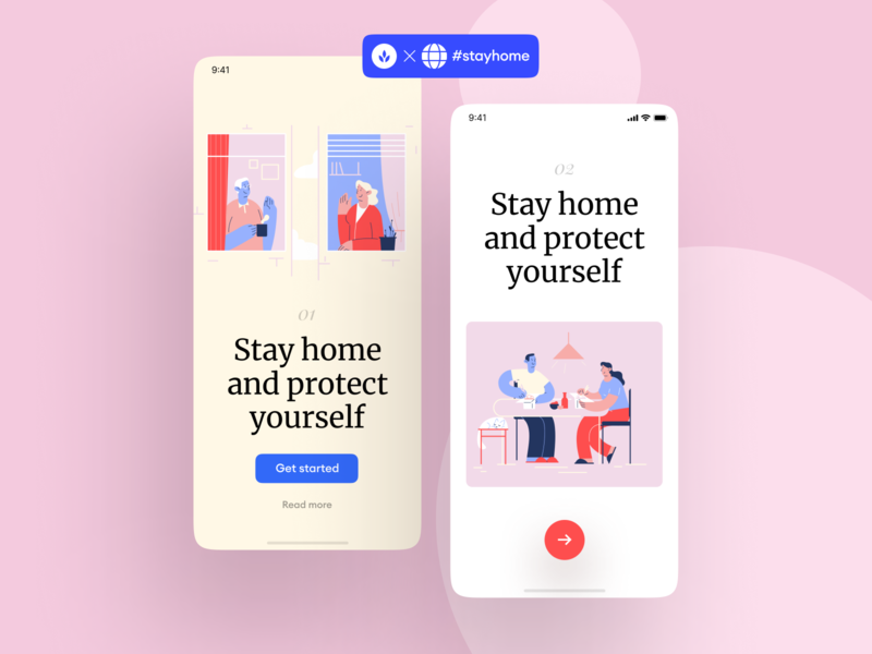Stayhome Illustrations + UI = 🥰 pink page landing presentation project scenes home atmosphere love care app website gentle vector flat lifestyle