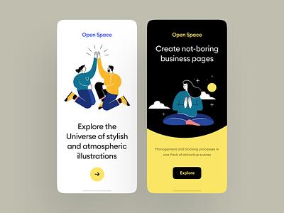 Open Space Illustrations walkthrough website craftwork ui background app illustration application landing vector web