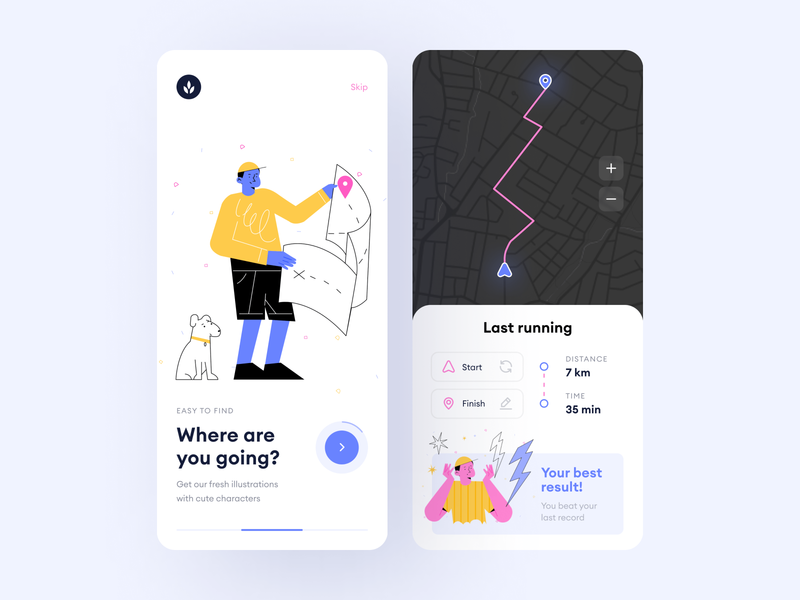 Funny Bunny + Apps = ❤️ walkthrough svg craftwork landing vectors app application mapping mark dog uidesign ui map vector web illustration illustrator