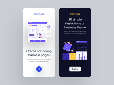 Interfaces 😍 design walkthrough ui app application craftwork landing vector web illustration
