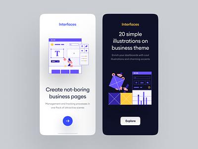 Interfaces 😍 design walkthrough ui app application craftwork landing vector web illustration