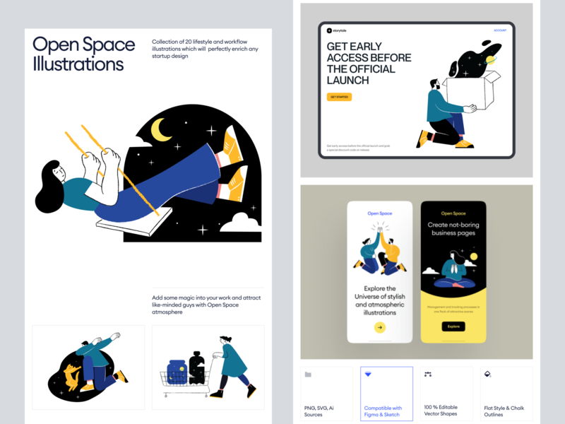 Open Space Presentation app website web svg png ai sketch night sky space universe characters craftwork illustrations startup business workflow error 404