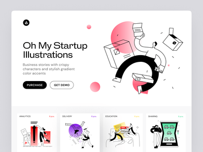 Meet oh my Startup Illustrations finance message service startup business workflow error colorful bright presentation landing application app website web characters illustrations craftwork technologies