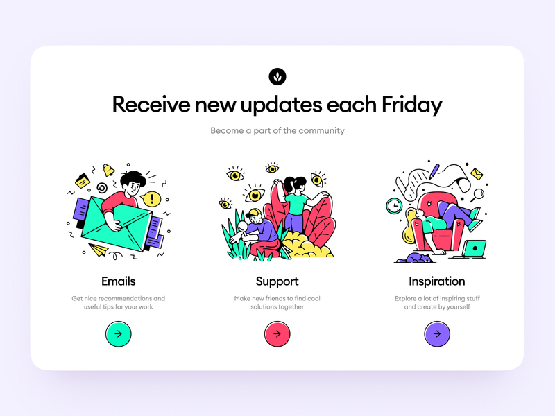Friday Illustrations + UI = 🥰 models launch startup project elements ui design landing application presentation website web app constructor scene colorful bright characters illustrations