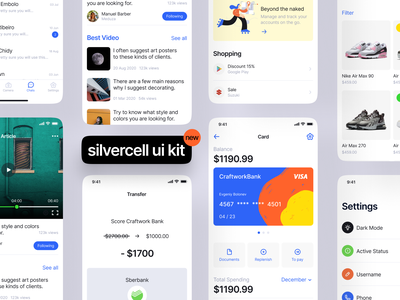 Silvercell iOS UI Kit clean simple walkthrough screens interface apple ios uidesign uikit ui app svg application website landing craftwork vector web