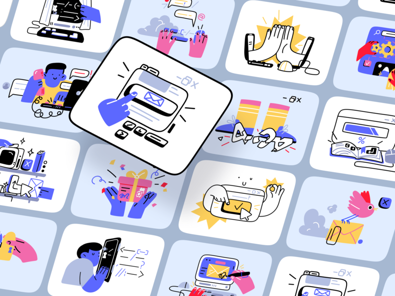 Introducing Nuts illustrations 🥳 startup work partnership technologies objects help workflow business details white black monochrome colorful outline flat characters illustrations ux ui design