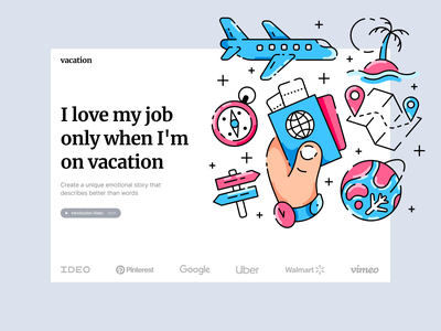 Vacation Illustrations outlines airplane journey summer vacation hike travel trip modern bright icons startup objects colorful outline characters illustrations ux ui design