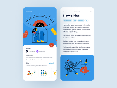 Stuct Illustrations + Apps sign up log out sign in 404 landing application website scenes world colorful uncommon unique funny modern vector illustrations update