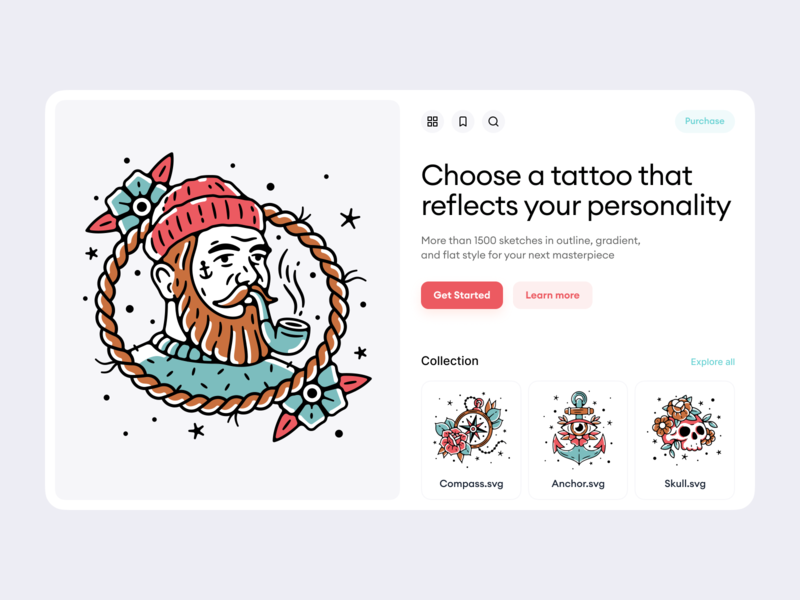 Tattoo Illustrations icons company startup work technologies objects details sun tiger sailor stars birds diamonds black colorful outline illustrations ux ui design